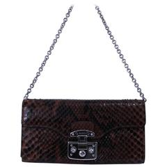 Gucci Python Brown Snake Wallet on a Chain bag with swarovsky clasp
