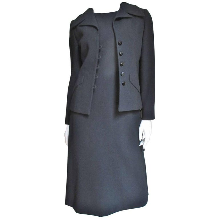 1960's Christian Dior Dress & Jacket With Jet Buttons