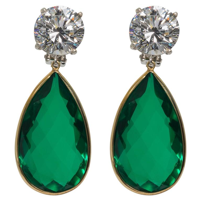 Maharajah Jewel Collection Amazing Faux Diamond Emerald Drop Earrings For