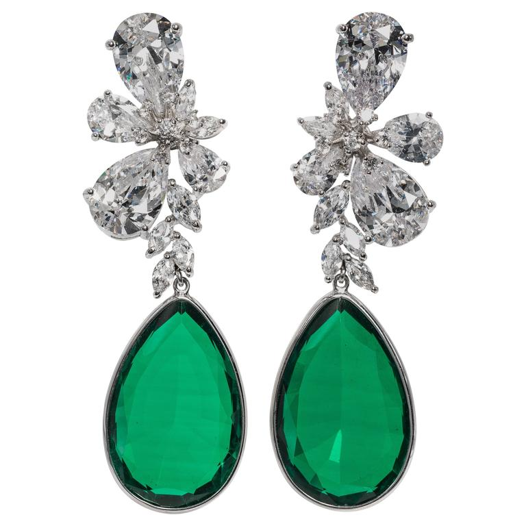 Magnificent Costume Jewelry Large Diamond Emerald Earrings For