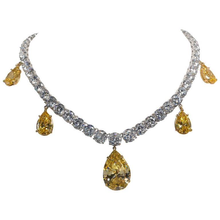 Five Drop Faux Canary Yellow Diamond Necklace 1