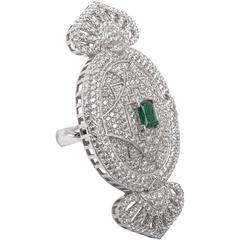 1920s Style Faux Diamond Emerald Large Cocktail Ring