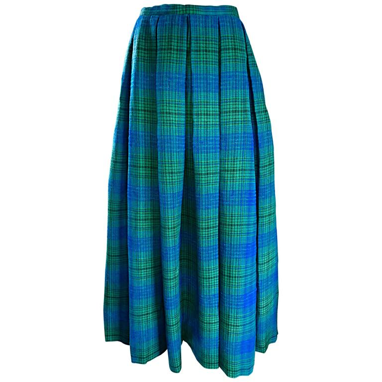 1950s Henri Bendel Blue and Green Chic Vintage 50s Virgin Wool Full Maxi Skirt  1