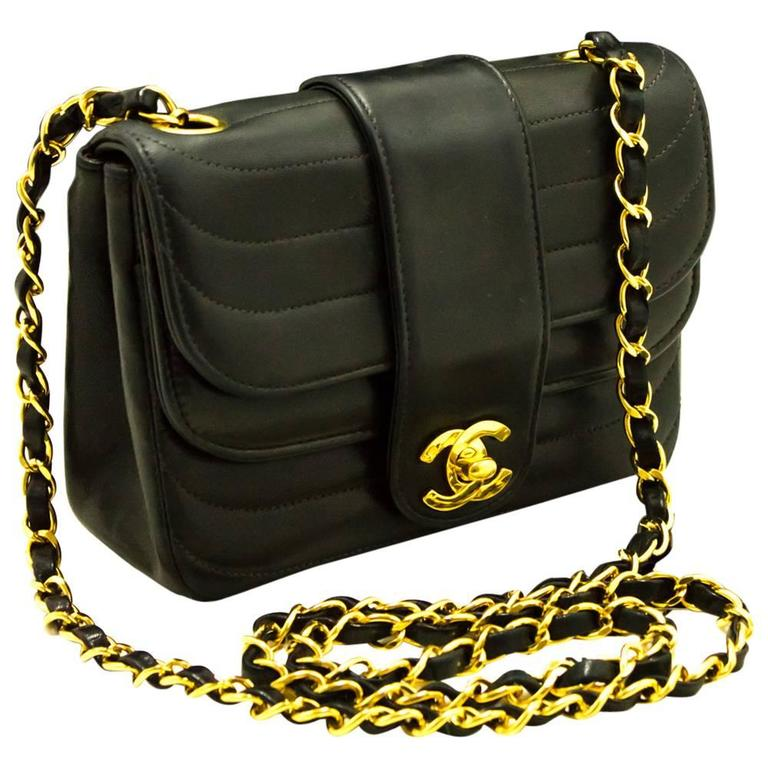 CHANEL Mini Double Flap Chain Shoulder Bag Crossbody Black Quilted For Sale 6e567c68f3e2a
