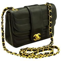 CHANEL Mini Double Flap Chain Shoulder Bag Crossbody Black Quilted