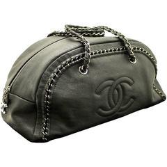 CHANEL Caviar Luxury Line Large Chain Shoulder Bag Black Leather