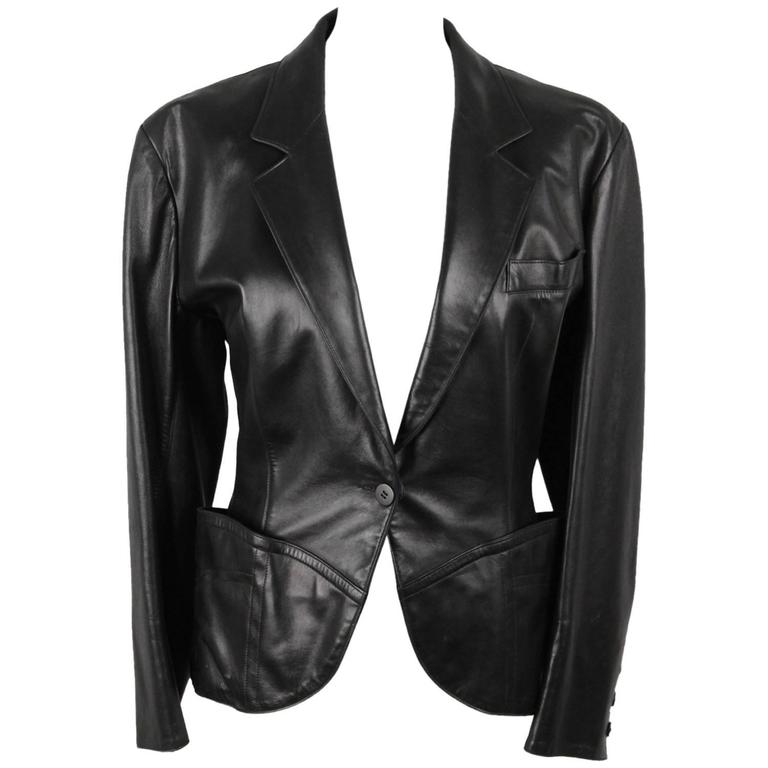 AZZEDINE ALAIA Vintage Black Leather BLAZER Jacket SIZE 40 1