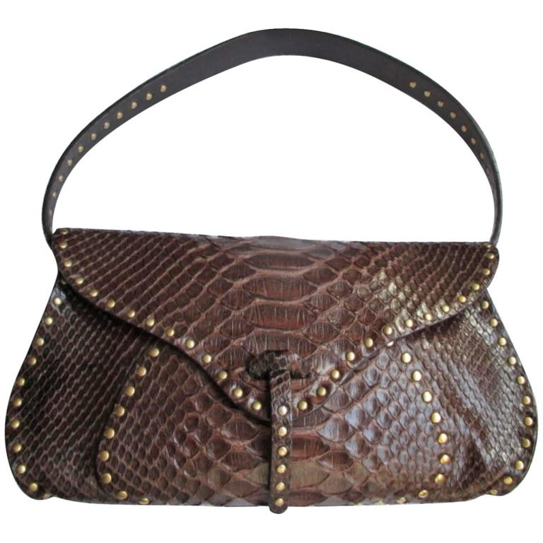celine little brown python leather shoulderbag