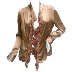 Roberto Cavalli Bronze Silk Charmeuse Ruffled Blouse