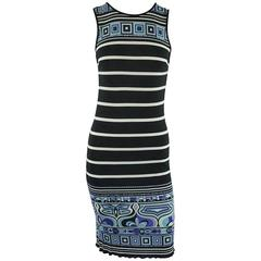 Emilio Pucci Black, White & Blue Silk Jersey Stripe Print Dress - 6
