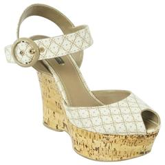 Louis Vuitton Beige Printed Cork Wedges with Ankle Strap - 41