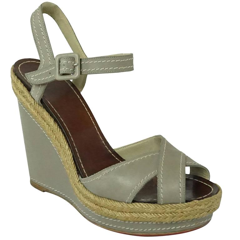 Christian Louboutin Taupe Leather Wedges with Ankle Strap - 40