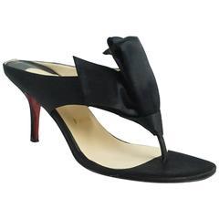 Christian Louboutin Black Satin Tulip Sandals - 37
