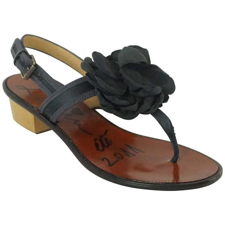 Lanvin Black Satin Sandals with Camellia - 37 For Sale