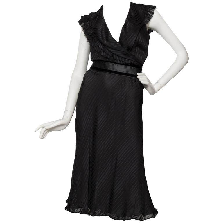 80s Black Chloé Silk Cocktail dress
