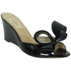 Valentino Black Patent Bow Wedges - 36.5