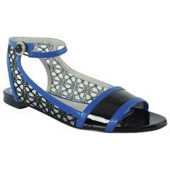 Jason Wu Black & Blue Eyelet Sandals with Ankle Strap - 36.5