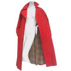 Burberry's Cherry Red Nova Plaid Trench Coat c 1990s