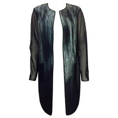Elie Tahari Modern Knee-Length Coat With Abstract Print Front and Net Panels