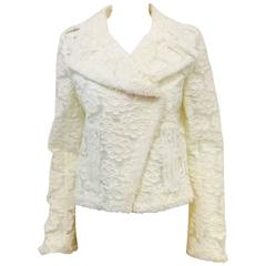 2009 Cruise Chanel Ivory Polyurethane Biker Jacket With Camellias Allover