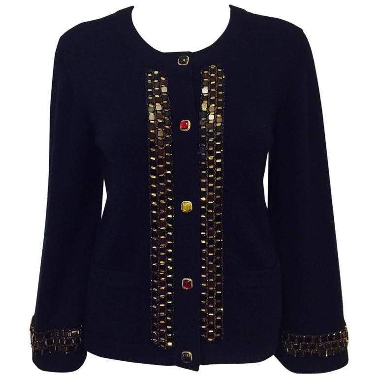 Chanel Navy Cashmere Cardigan W. Multi Color Gripoix Buttons & Chiclet Trim  For Sale