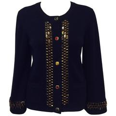 Chanel Navy Cashmere Cardigan W. Multi Color Gripoix Buttons & Chiclet Trim