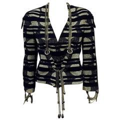 Chanel 2008 Spring Cotton Blend Geometric Print Jacket w. Silver Tone Chains