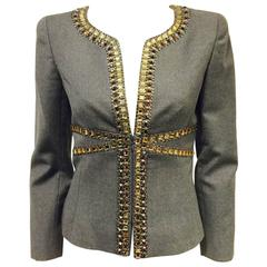 Valentino Grey Wool and Cashmere Fitted Jacket W. Jewel Tone Embellishment