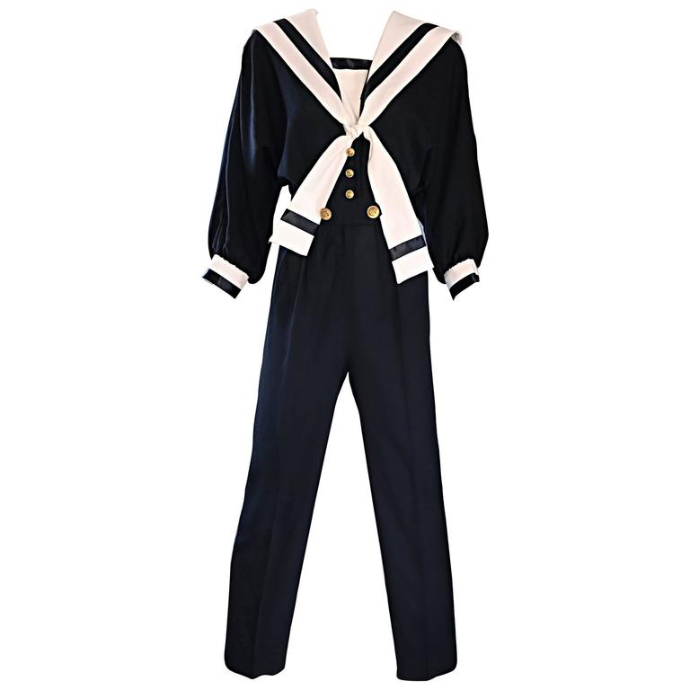 Rare Vintage Andree Gaye Nautical Black and White 1990s 90s Sailor Jumpsuit  For Sale