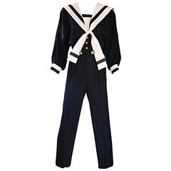 Rare Vintage Andree Gaye Nautical Black and White 1990s 90s Sailor Jumpsuit