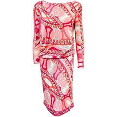 NWT Emilio Pucci Print Long Sleeve Dress With Deep V Back