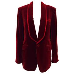 Iconic 2004 Fall Tom Ford For Gucci Burgundy Velvet Men's Smoking Jacket