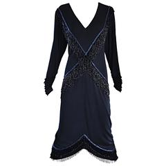 Amazing Vintage Holly's Harp 1970s Black + Blue Beaded Silk Jersey Flapper Dress