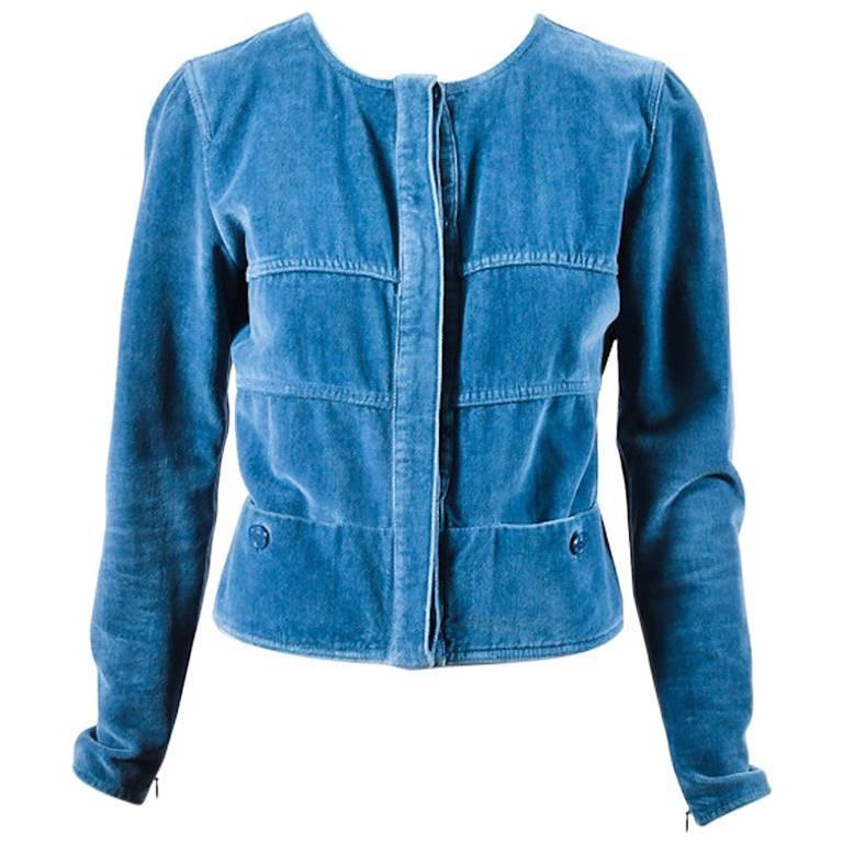 Chanel Blue Velvet Button Front Zip Detail Jacket Size 36 1