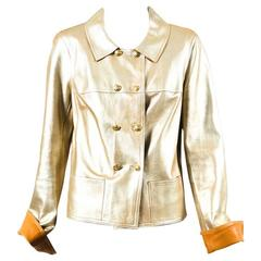Chanel 05P Metallic Gold Lambskin Leather 'CC' Double Breasted Jacket Size 42