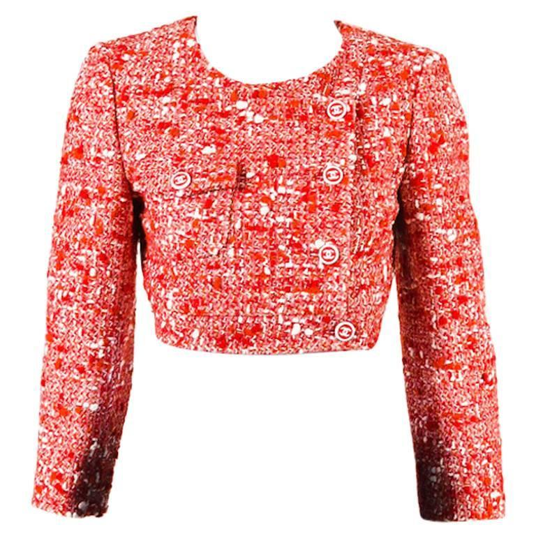 Chanel Red White Tweed Double Breasted 'CC' Button Cropped Jacket Size 38 1