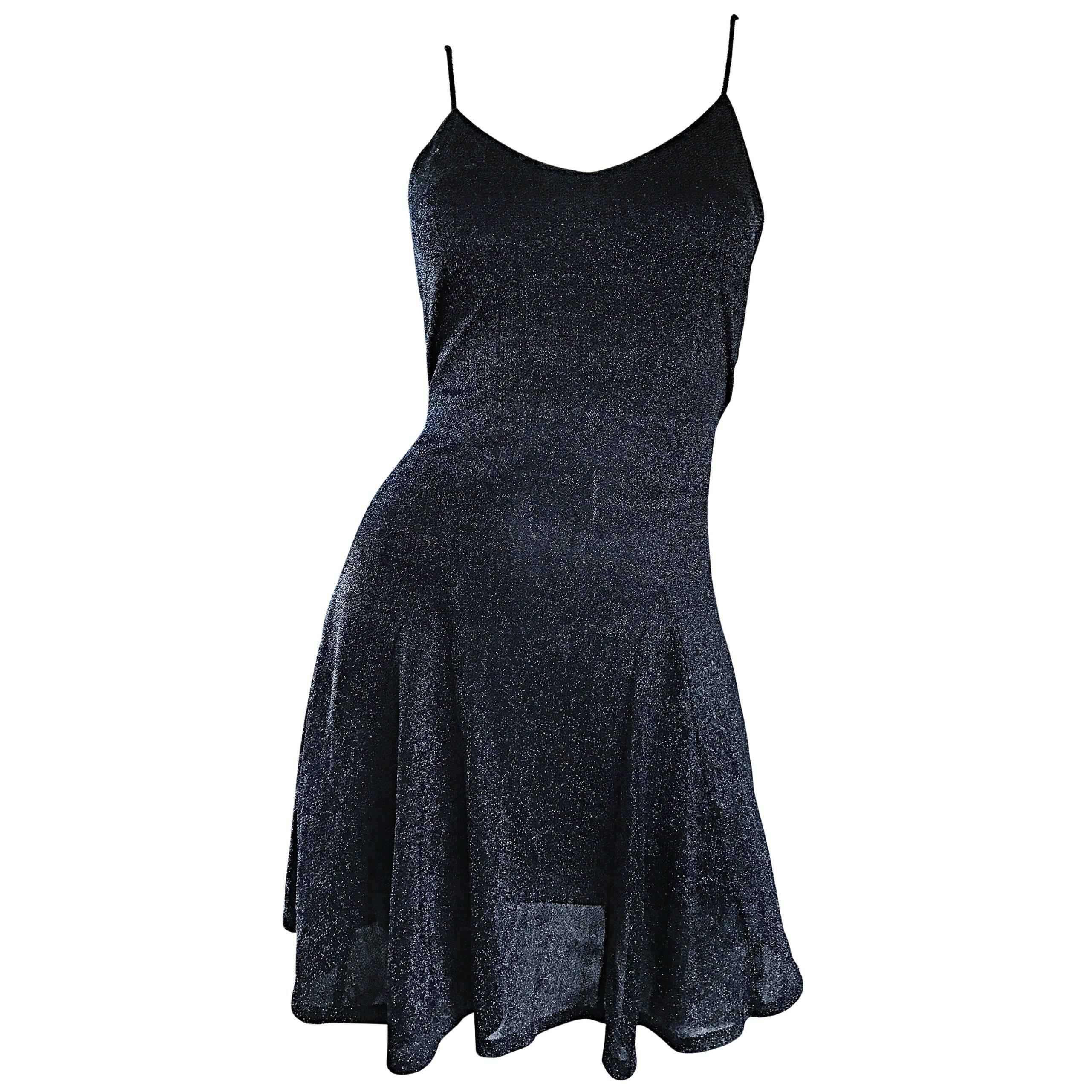 1990s Betsey Johnson Black Metallic Lurex Vintage 90s Mini Skater Dress Petite