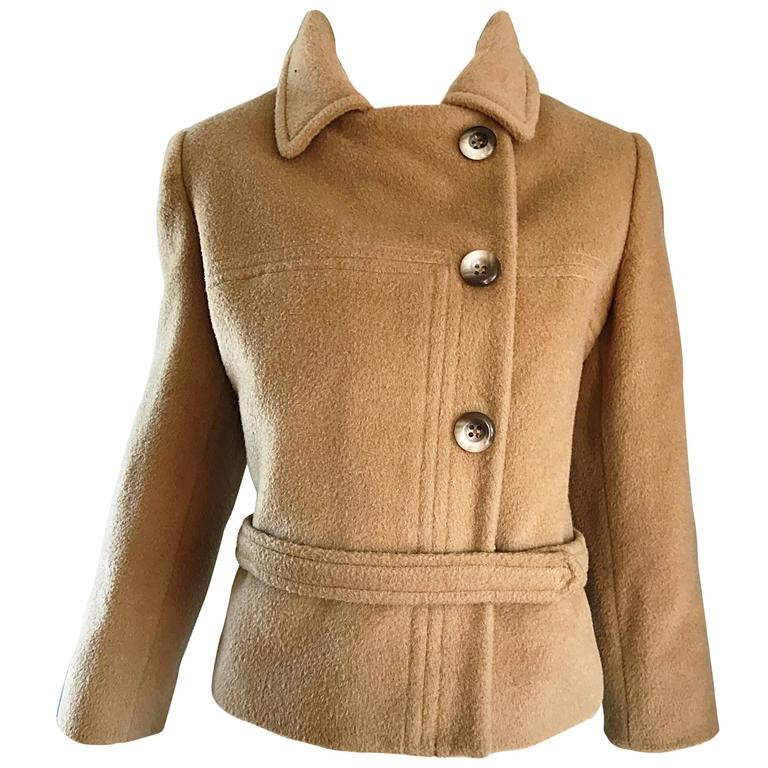 Chic 1960s Saks 5th Avenue Camel 60s Vintage Virgin Mod Wool Cropped Jacket  1