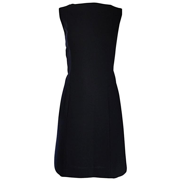 Vintage Giorgio Armani Collezioni 1990s Does 1960s Mod Wool Sz 6 90s Black Dress