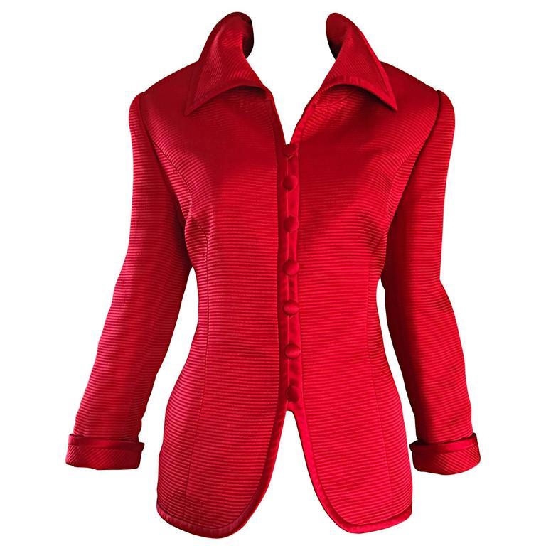 Louis Feraud Size 12 1990s Lipstick Red Vintage Silk + Wool Ribbed Blazer Jacket