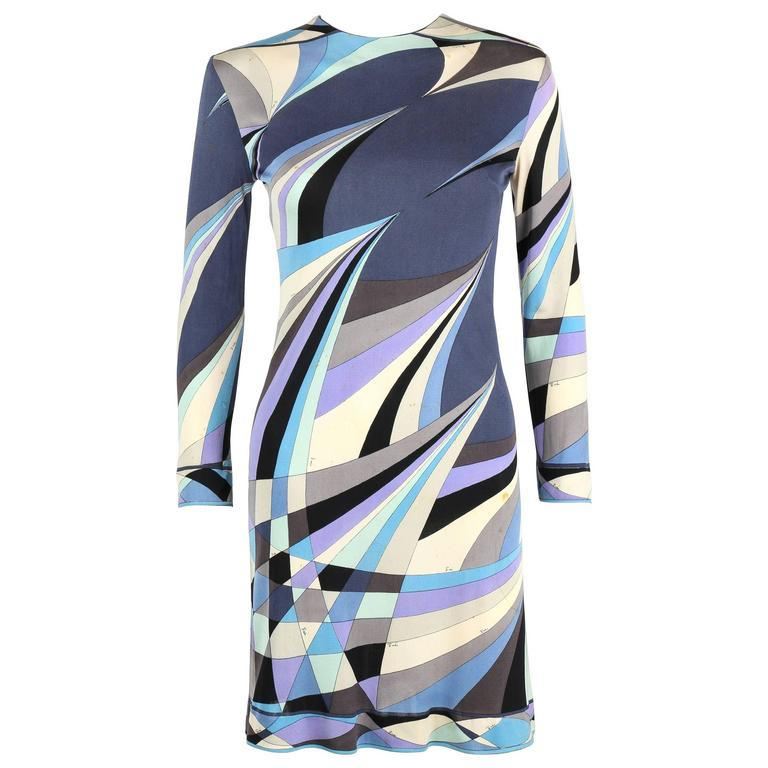 EMILIO PUCCI c.1960's Blue Op Art Signature Print 100% Silk Jersey Sheath Dress