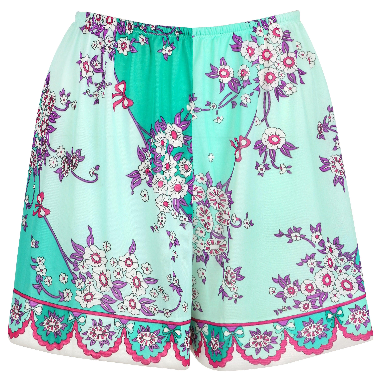 EMILIO PUCCI c.1960's Formfit Rodgers Mint Teal Floral Print Tap Pants Shorts