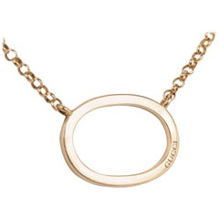 Gucci 18K Yellow Gold Oval Pendant Necklace