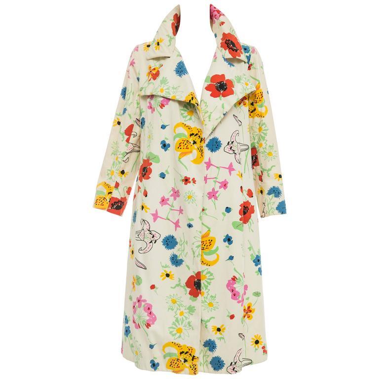 Bill Blass For Bond Street Floral Cotton Twill Coat, Circa 1970's