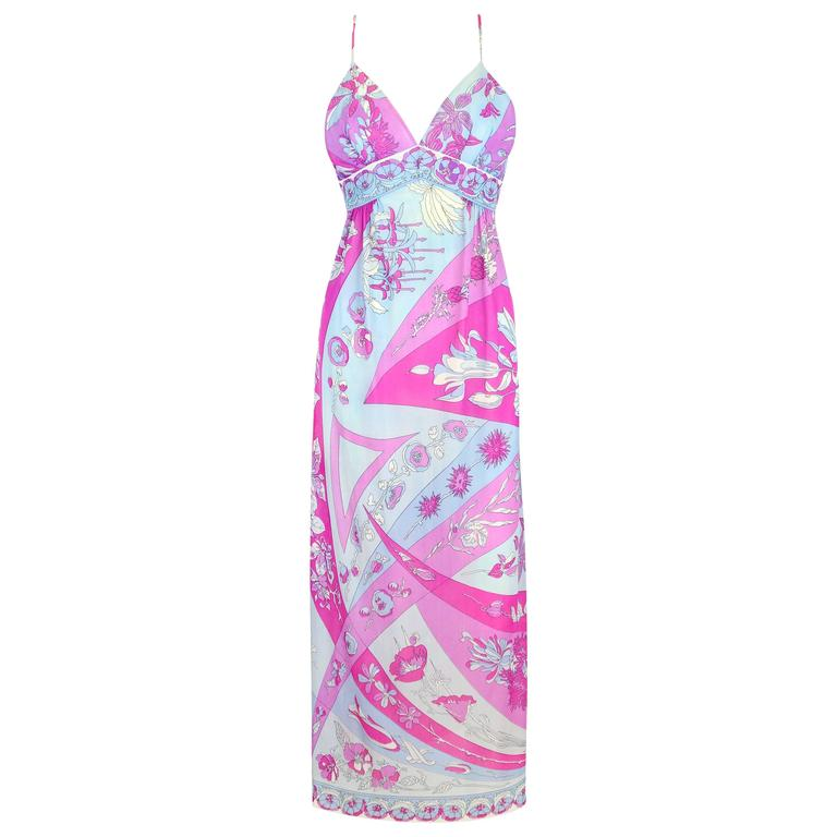 EMILIO PUCCI c.1970's Formfit Rogers Pale Blue Floral Print Long Slip Maxi Dress For Sale