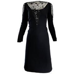 Vintage Bob Mackie Sz 10 12 Black Nude Illusion Sequin Beaded Little Black Dress
