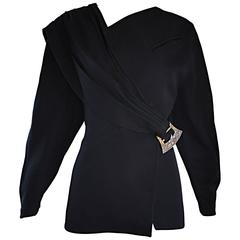 Vintage Thierry Mugler Black Avant Garde 1980s Asymmetrical Sash 80s Jacket