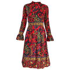 Pat Sandler 1960s Neon Orange Paisley Psychedelic Vintage A - Line 60s Dress