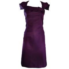 6267 Purple Aubergine Silk and Cotton Cap Sleeve Futuristic Stretch Runway Dress
