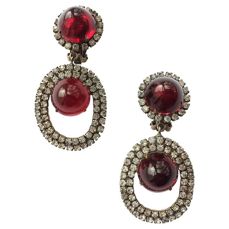 Kjl Ruby Cabochon And Grey Paste Drop Earrings 1960s For